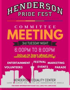 Henderson Pride Fest - Committee Meeting @ Henderson Equality Center